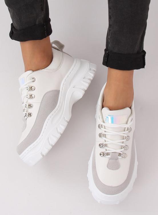 Buty na wysokiej podeszwie biało-szare PF5329 GREY