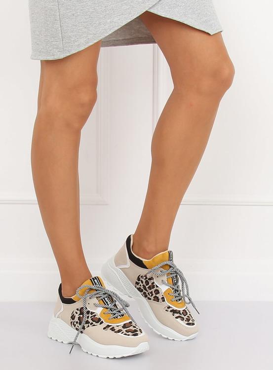Buty sportowe beżowe BL170P LEOPARD PRINT