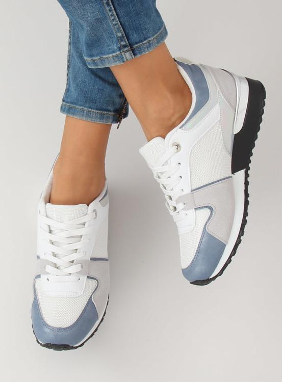Buty sportowe białe B-01 WHITE/BLUE