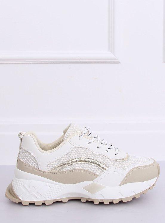Buty sportowe biało-beżowe LA87P BEIGE