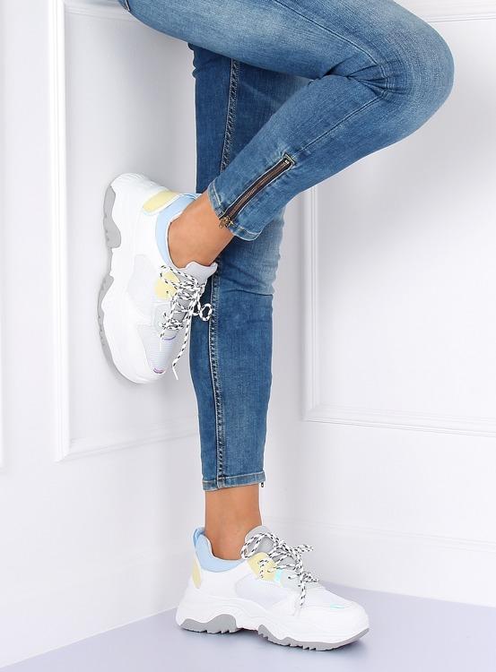 Buty sportowe biało-niebieskie B0-63 WHITE/BLUE
