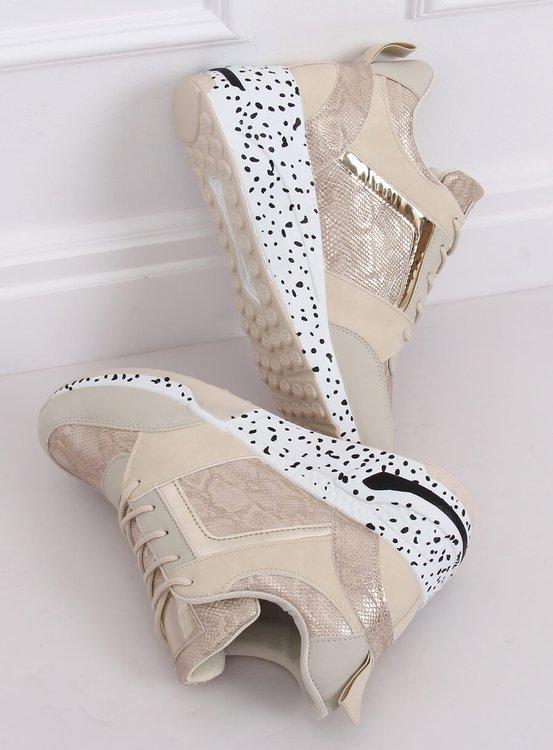 Buty sportowe na koturnie beżowo-złote C131 BEIS