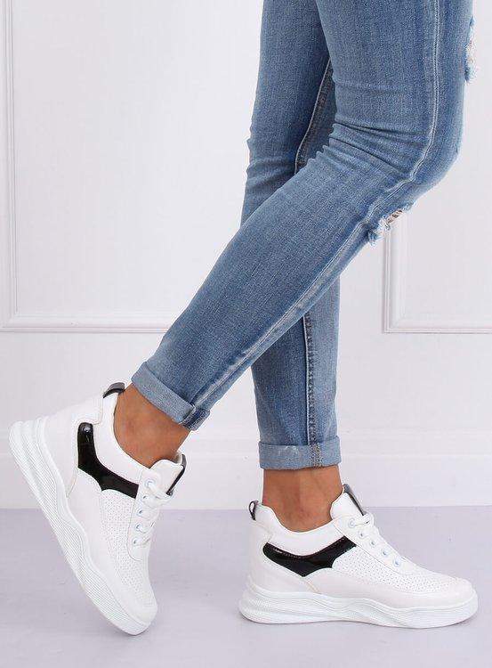 Buty sportowe na koturnie białe 85-429 WHITE/BLACK