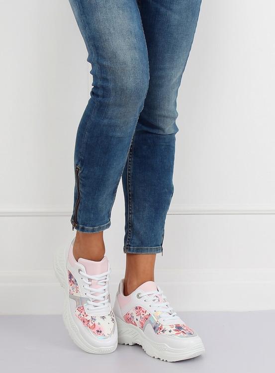 Buty sportowe w kwiaty białe 3002 WHITE/FLOWER RED