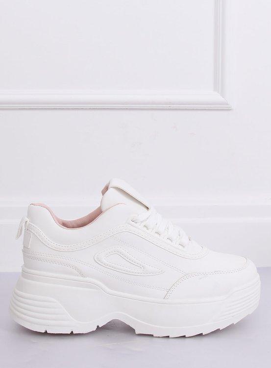 Buty sportowe wysoka podeszwa białe LA78P-1 PINK