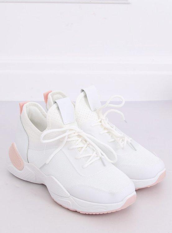 Buty sportowe z siateczką białe B0-547 PINK