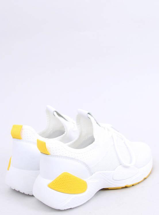 Buty sportowe z siateczką białe B0-547 YELLOW