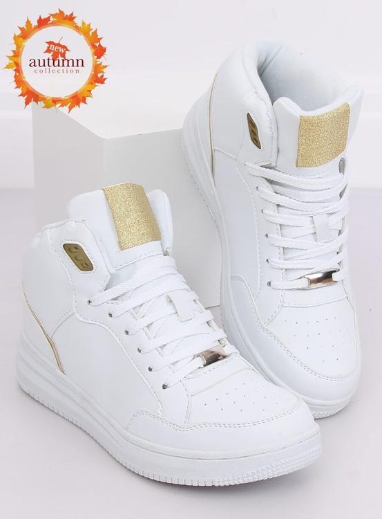 Buty sportowe za kostkę biało-złote 107-18 WHITE/GOLD