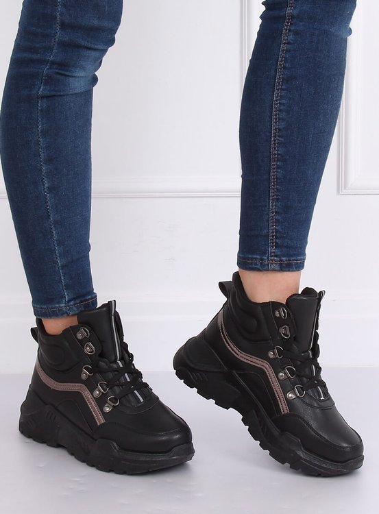 Buty sportowe za kostkę czarne B0012-SP BLACK