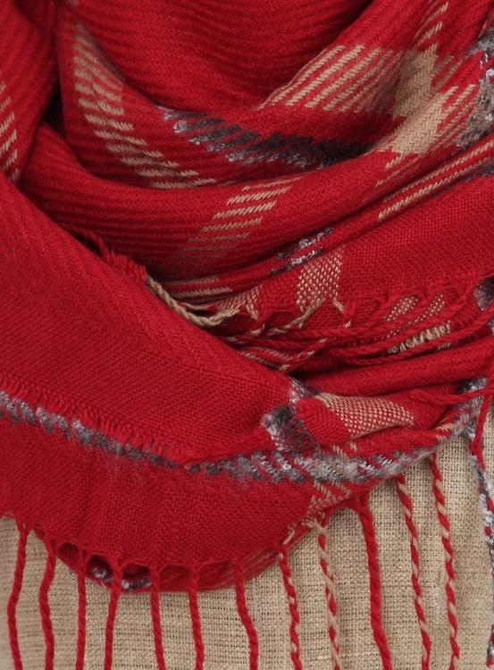Chusta damska w kratę SZ-FA31039 Czerwony