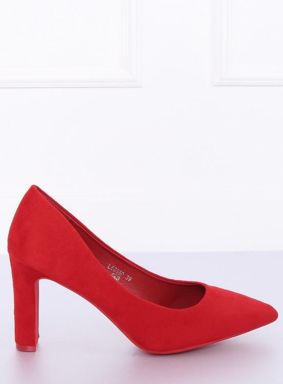 Czółenka na słupku czerwone LE056P RED