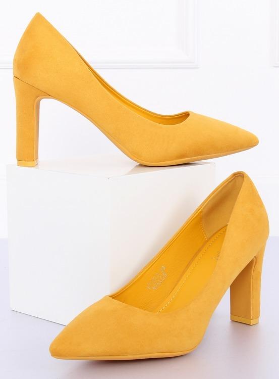 Czółenka na słupku żółte LE056P YELLOW