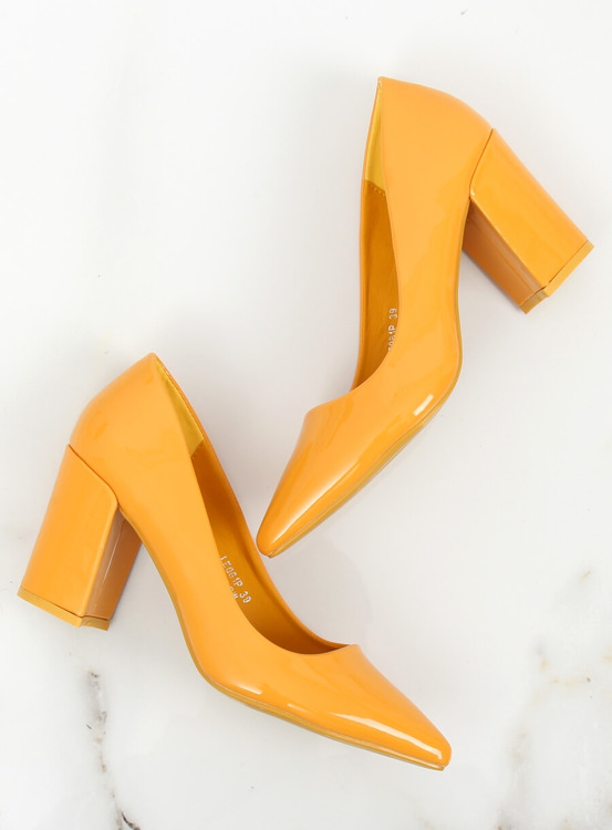 Czółenka na słupku żółte LE061P YELLOW