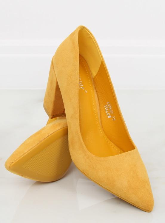Czółenka na szerokim obcasie żółte LE060P YELLOW