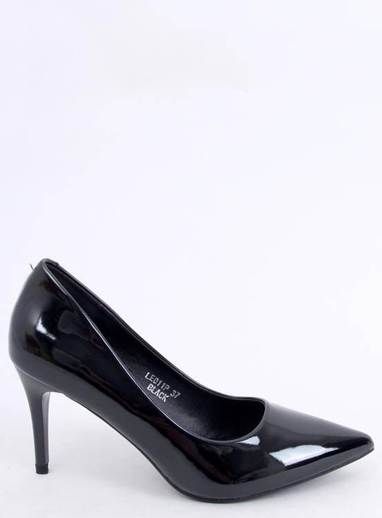 Czółenka na szpilce czarne LE011P-ST BLACK