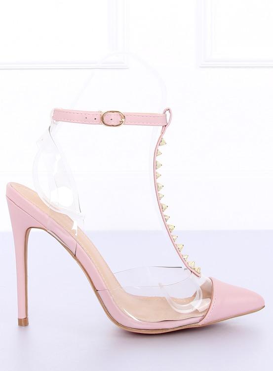 Czółenka na szpilce transparentne różowe KK06 PINK