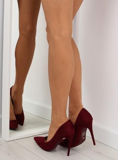 Czółenka na szpilce zamszowe bordowe 5101 W.RED
