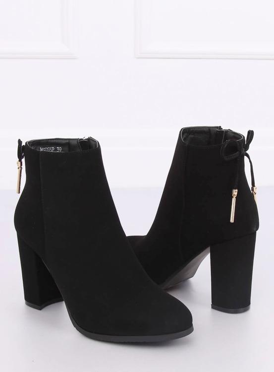 Eleganckie botki na obcasie czarne NS055P BLACK