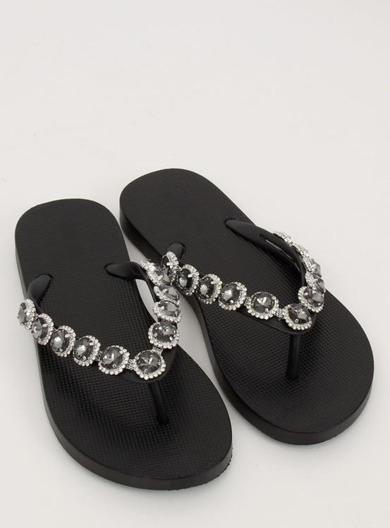 Eleganckie klapki japonki z kamieniami czarne JH69 BLACK