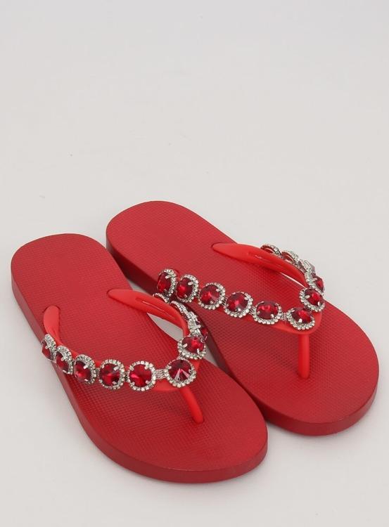 Eleganckie klapki japonki z kamieniami czerwone JH69 RED