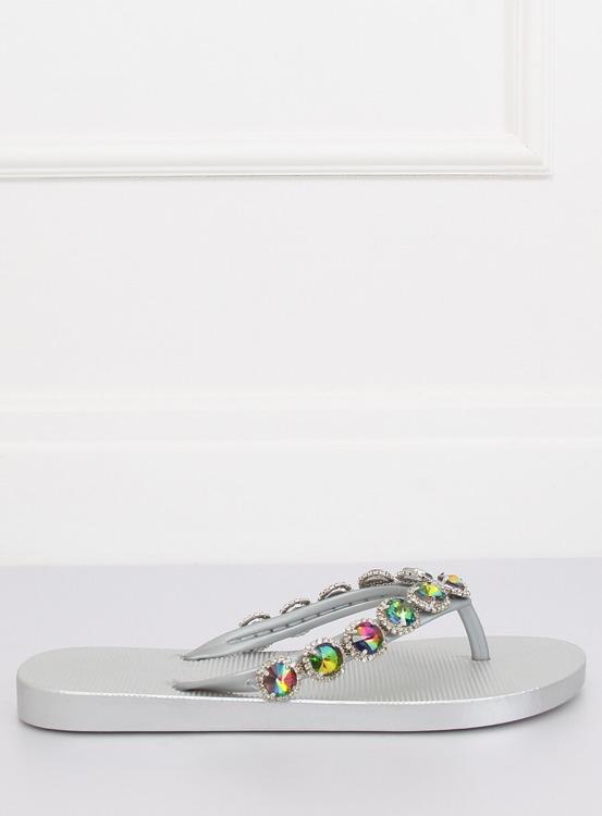 Eleganckie klapki japonki z kamieniami srebrne JH69 SILVER