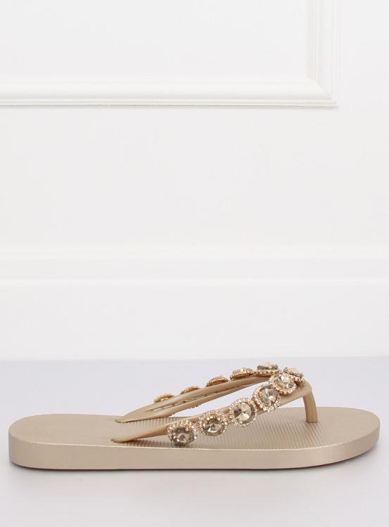 Eleganckie klapki japonki z kamieniami złote JH69 GOLD