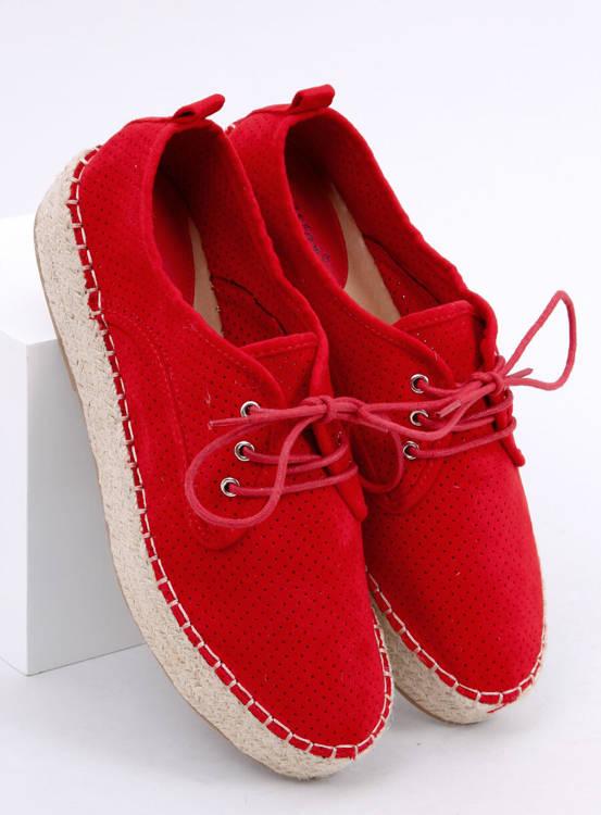 Espadryle damskie czerwone LL-118 RED