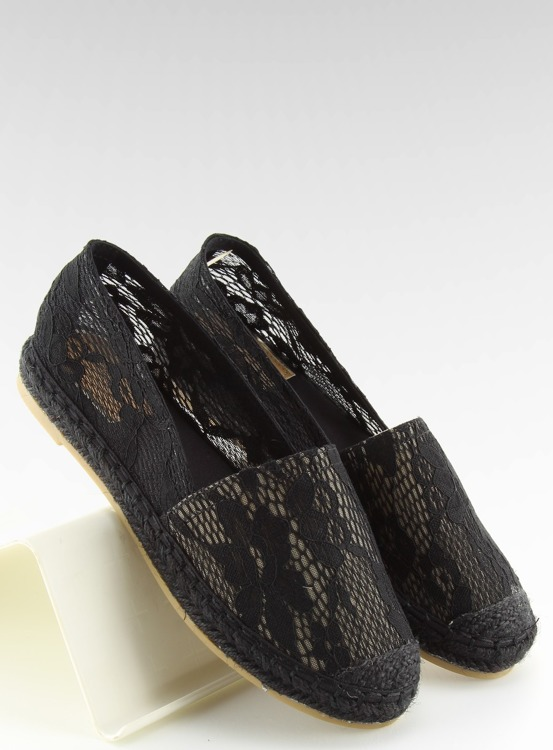Espadryle koronkowe czarne BB15P BLACK