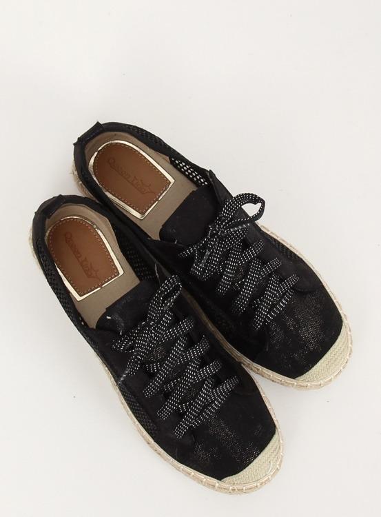 Espadryle sznurowane czarne B752S-BL BLACK