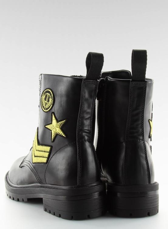 Glany botki militarne czarne 8338 BLACK