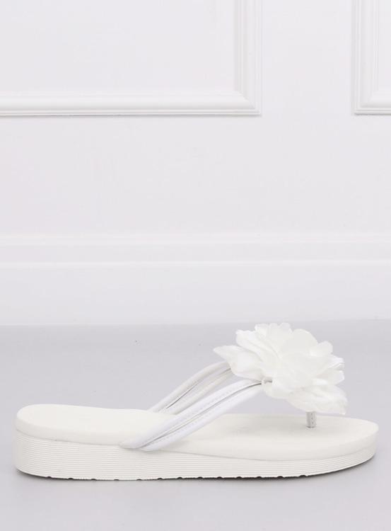 Japonki z kwiatem białe CK103 WHITE