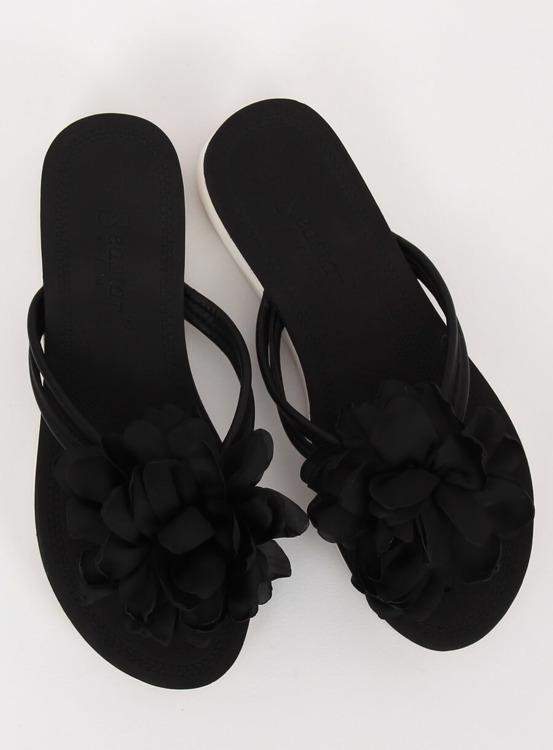 Japonki z kwiatem czarne CK103 BLACK