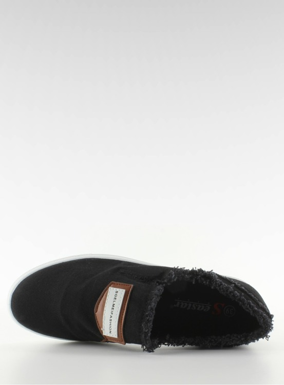 Jeansowe slip-on z naszywką NB22 Czarny