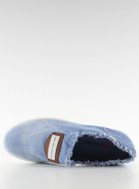 Jeansowe slip-on z naszywką NB22 L. Blue
