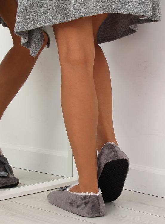 Kapcie damskie balerinki szary YW-20 Szary