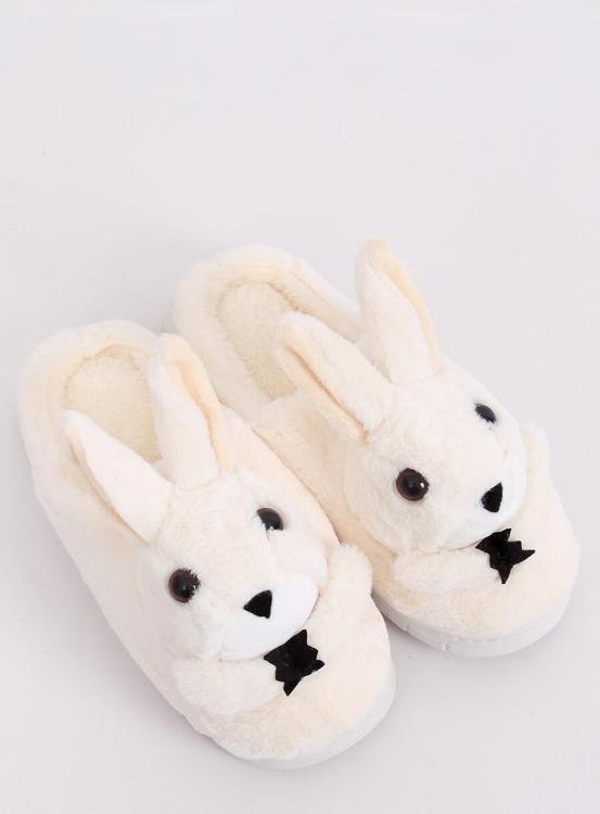 Kapcie damskie króliczki beżowe MA17 WHITE