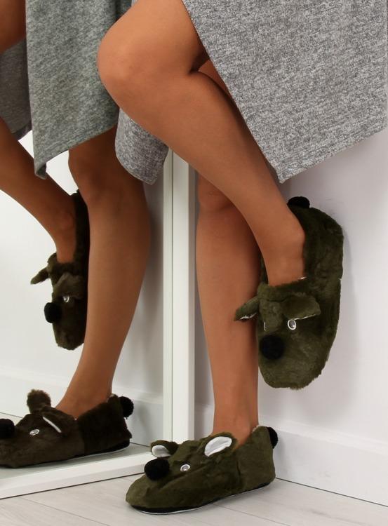 Kapcie damskie z pyszczkiem zielone DN2122 Zielony