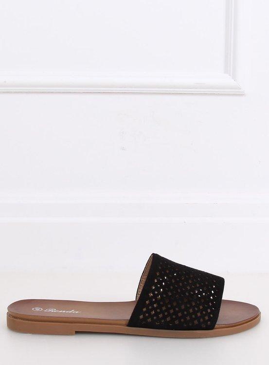 Klapki ażurowe czarne 620-63 BLACK