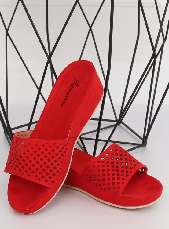 Klapki ażurowe czerwone JS-03 RED