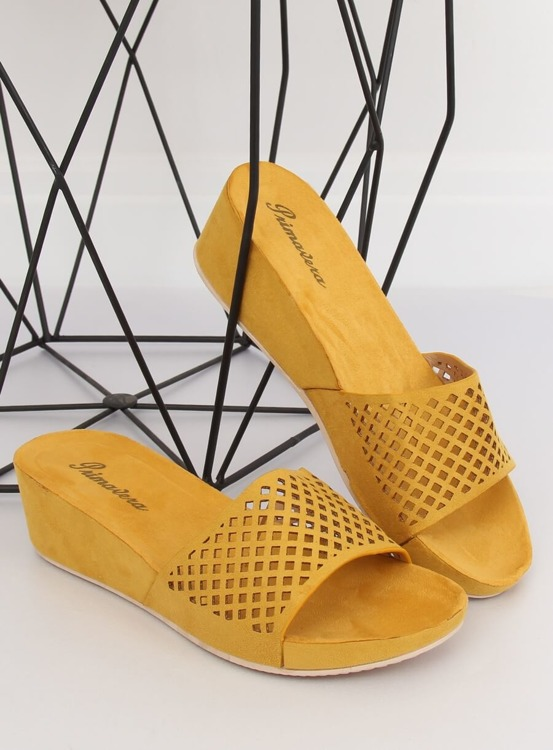 Klapki ażurowe żółte JS-03 YELLOW