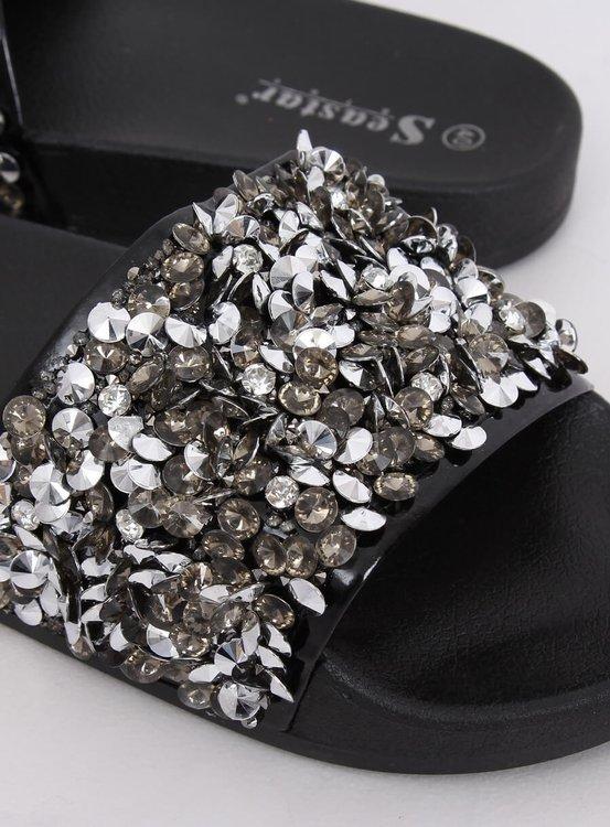 Klapki damskie z kamieniami czarne CK106P BLACK