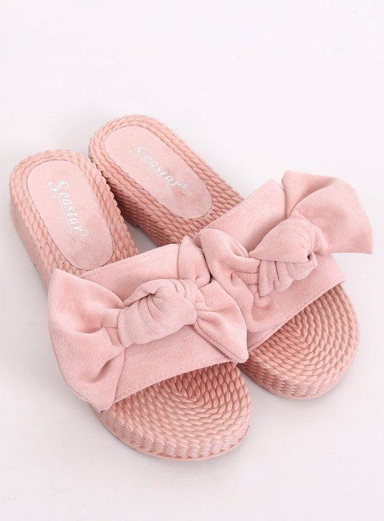 Klapki damskie z kokardą różowe YQ225P PINK