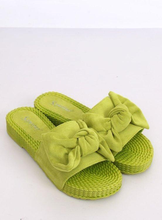 Klapki damskie z kokardą zielone YQ225P GREEN