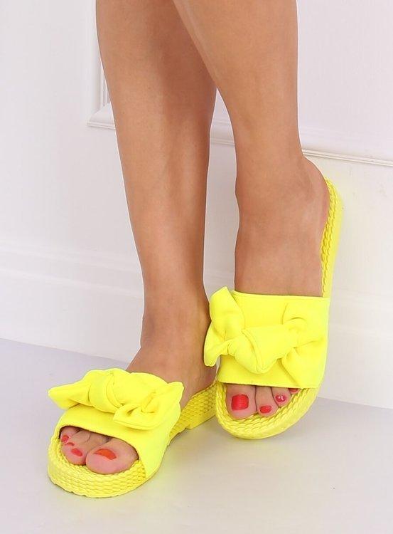 Klapki damskie z kokardą żółte YQ225P FLUORESCEIN