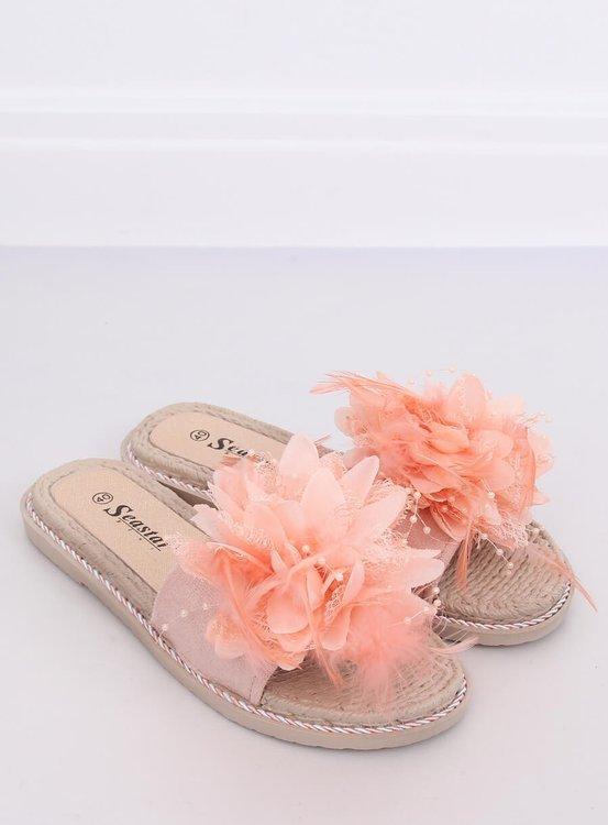 Klapki damskie z piórkami różowe CK131P PINK