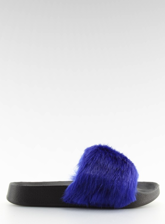 Klapki futrzane granatowe S36 D.BLUE