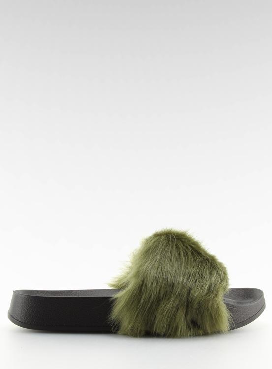 Klapki futrzane zielone S36 GREEN