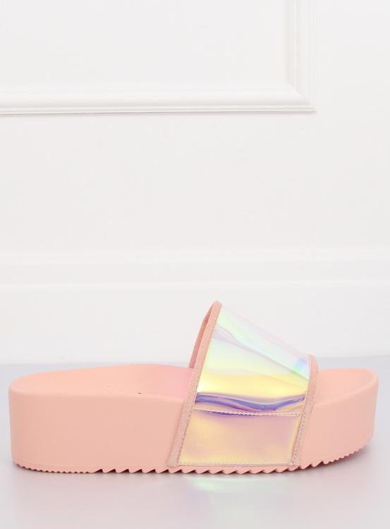 Klapki holograficzne różowe CK81P PINK