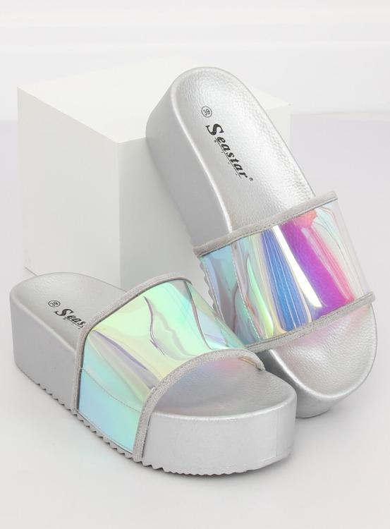 Klapki holograficzne srebrne CK81P SILVER