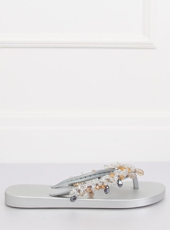 Klapki japonki z koralikami srebrne JH68 SILVER